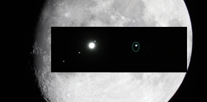 The moon, Jupiter and moons, and Uranus and moons, all to scale.