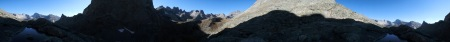 Panorama looking down on Jack Ass Pass near the Cirque of the Towers